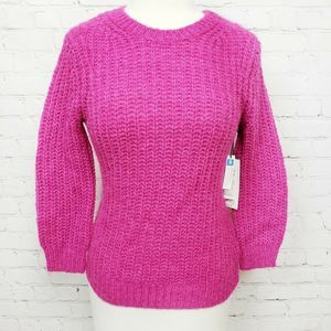 Treasure & Bond Cropped Textured Knit Sweater Pink
